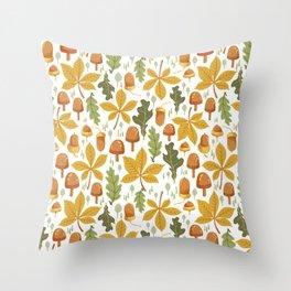 Autumn Forest Floor Pattern - White Throw Pillow