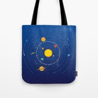 solar system Tote Bags featuring Solar System by Lalu - Laura Vargas