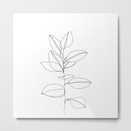 One line plant illustration - Dany Metal Print