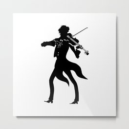 black and white fiddler on the roof, violinist Metal Print