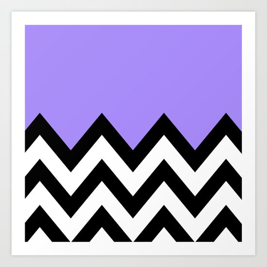PURPLE COLORBLOCK CHEVRON Art Print