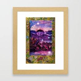 Black Sun Alchemy, Antique Alchemy Illustration Collage Framed Art Print