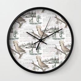 Paris Cockatoo Toile Wall Clock