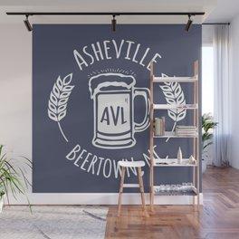 Asheville Beer - AVL 3 White on Bluegrey Wall Mural