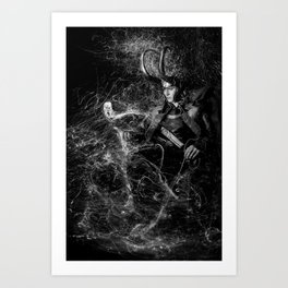 Little Loki and The Jellyfish 1 (B/W) Art Print