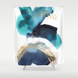 Ebb and Flow - Abstract Mixed Media Painting Coastal Art Shower Curtain