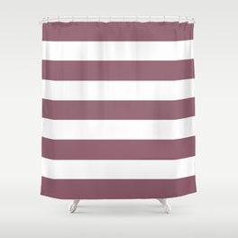 Raspberry glace - solid color - white stripes pattern Shower Curtain