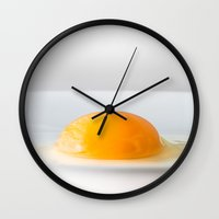 egg Wall Clocks featuring egg by Rosu Corneliu