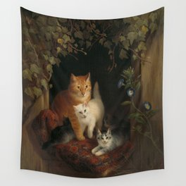 Henriëtte Ronner - Cat with kittens (1844) Wall Tapestry