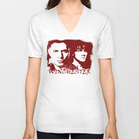 winchester V-neck T-shirts featuring Team Winchester by Panda Cool