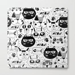 MONOCHROME CAT FACES PATTERN Metal Print