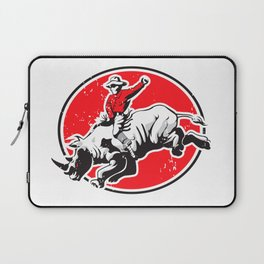 Rodeo Cowboy riding a rhino Laptop Sleeve
