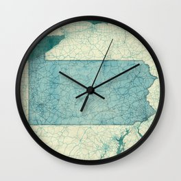 Pennsylvania State Map Blue Vintage Wall Clock