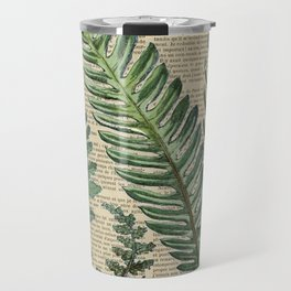 Book Art Page Botanical Leaves Travel Mug