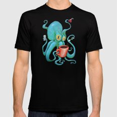 Michelle's Coffee Drinking Octopus LARGE Black Mens Fitted Tee