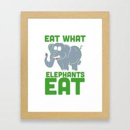 Funny Vegan Shirts I elephants eat plants Framed Art Print