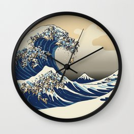 The Great Wave of Pugs Vanilla Sky Wall Clock