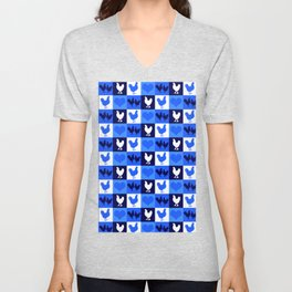 Blue and White American Chickens Gingham Unisex V-Neck