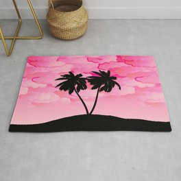Palm Tree Silhouette Against Dawn Pink with Clouds Rug