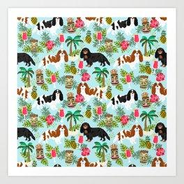 Cavalier King Charles Spaniel tiki hawaiian island tropical dog breed pattern dogs Art Print