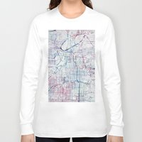 kansas city Long Sleeve T-shirts featuring Kansas city map by MapMapMaps.Watercolors