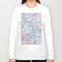 kansas Long Sleeve T-shirts featuring Kansas city map by MapMapMaps.Watercolors