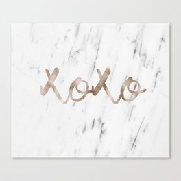 Rose gold marble XOXO Canvas Print