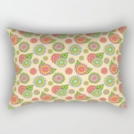 Colorful doodle flowers - Spring Pattern Rectangular Pillow