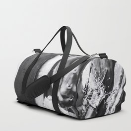 cactus with wood wall background in black and white Duffle Bag