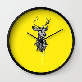 Deer Head III (bright yellow) Wall Clock