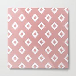 Festive, Boho, Geometric, Diamond, Pattern, Pink and White Metal Print