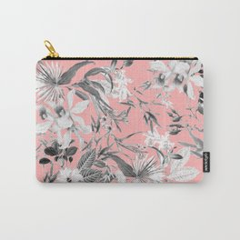Black and White Floral on Light Pink Carry-All Pouch