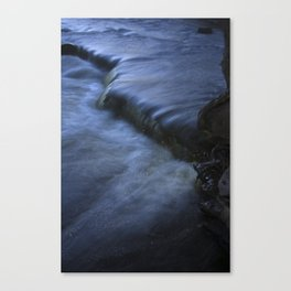 Sparkling Blue Water Slips Past Gnarled Tree Roots Canvas Print
