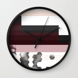 Striped Burgundy Deco Accent Wall Clock