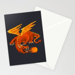 Pixel Fiery Dragon Stationery Cards
