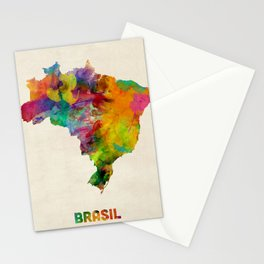 Brazil Watercolor Map Stationery Cards