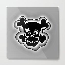 Funny Skull  Black Gray Metal Print