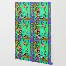 DECORATIVE GREEN SHABBY CHIC PEELING WALLPAPER DESIGN Wallpaper