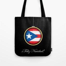 Feliz Navidad Puerto Rico Flag Tote Bag