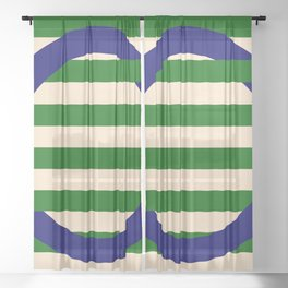 GEOMETRY BLUE&GREEN III Sheer Curtain
