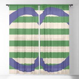 GEOMETRY BLUE&GREEN III Sheer Curtain