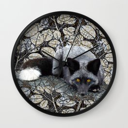 Grey Fox and Leaves Wall Clock