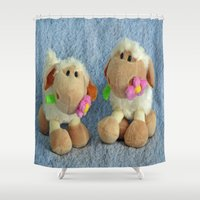 silence of the lambs Shower Curtains featuring Little Lambs by Frankie Cat