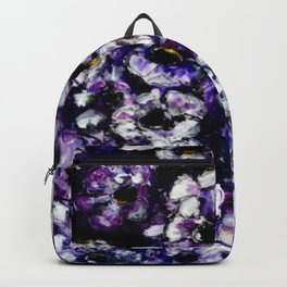 White Flowers on Purple Background Backpack