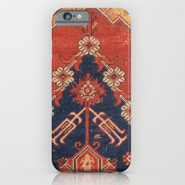 Southwest Tuscan Shapes III // 18th Century Aged Dark Blue Redish Yellow Colorful Ornate Rug Pattern iPhone Case