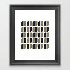 Black & gray curved corners pattern Framed Art Print