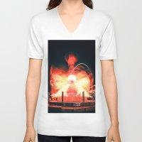 ufo V-neck T-shirts featuring UFO by Teodora Roşca
