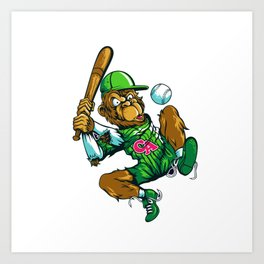 Baseball Monkey - Lime Art Print