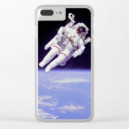 Astronaut on a Spacewalk Clear iPhone Case