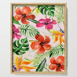 Tropical flowers and leaves on Pink background Serving Tray
